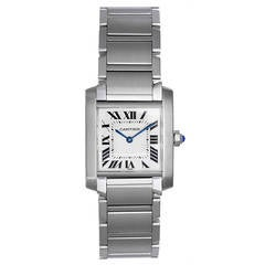 Cartier Stainless Steel Tank Francaise Midsize Wristwatch