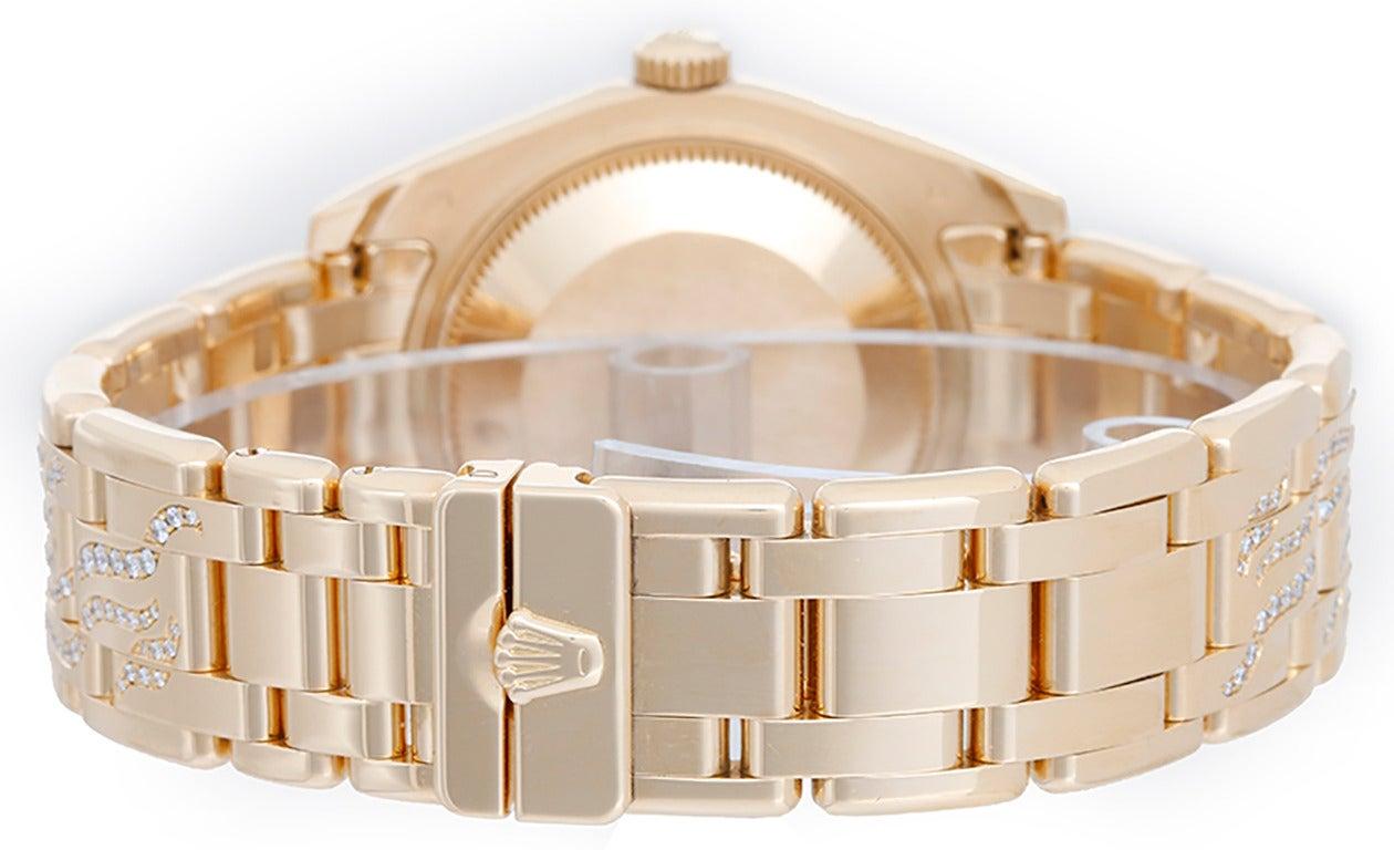 Rolex Yellow Gold Diamond Pearlmaster Masterpiece Midsize Wristwatch Ref 81338 2