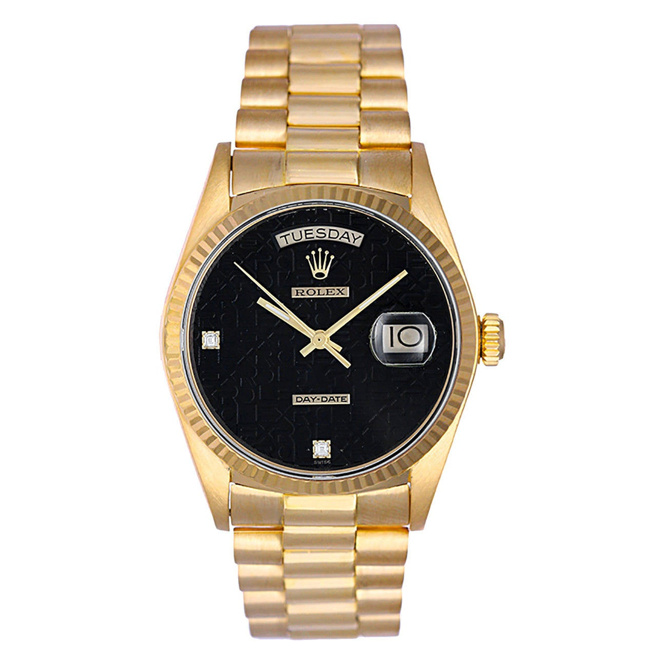 Rolex Gold Day-Date Black Jubilee Dial President Wristwatch Ref 18038 For Sale