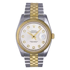 Rolex Stainless Steel Gold Datejust Diamond Dial Wristwatch Ref 116233