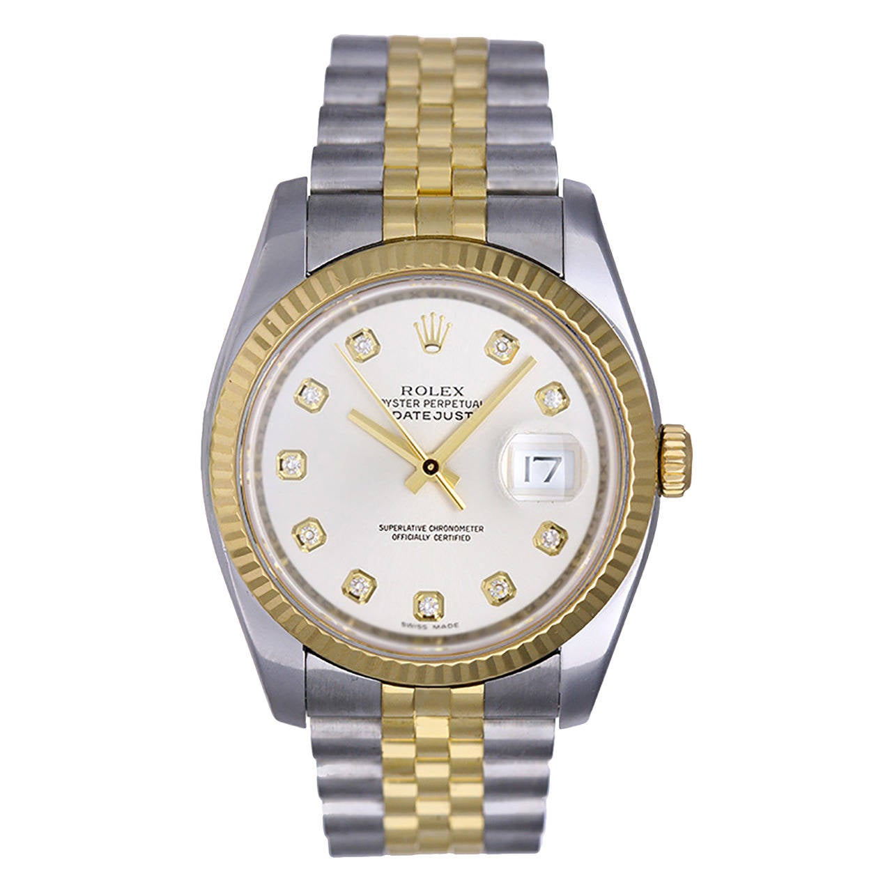 Rolex Stainless Steel Gold Datejust Diamond Dial Wristwatch Ref 116233 ...