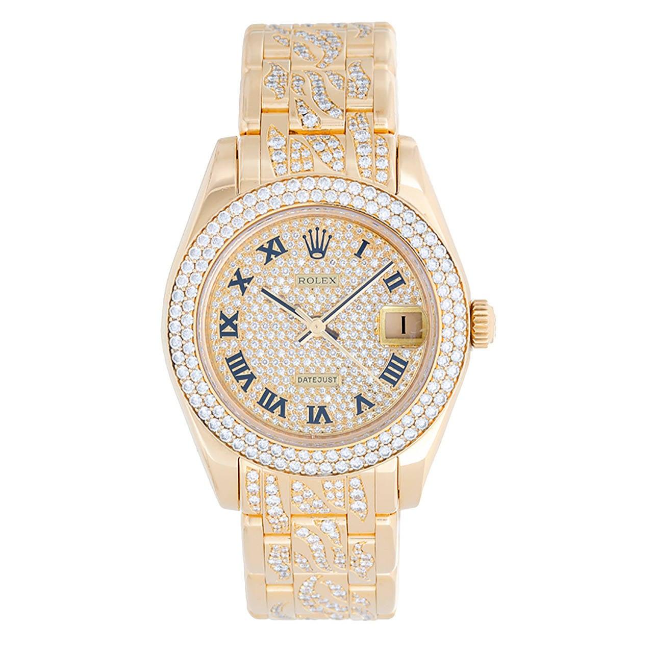 Rolex Yellow Gold Diamond Pearlmaster Masterpiece Midsize Wristwatch Ref 81338 1