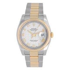 Rolex Steel and Gold Two-Tone Ivory Pyramid Dial Datejust Wristwatch Ref 116203
