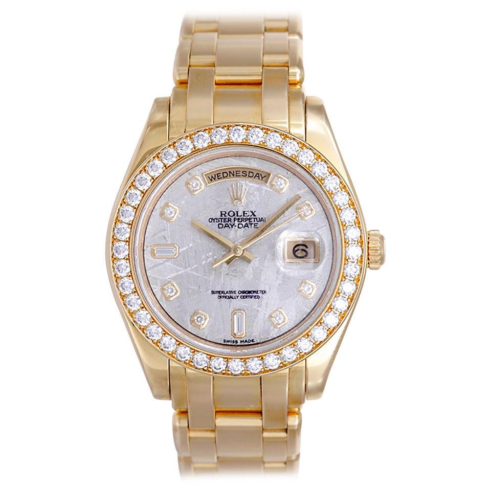 Rolex Yellow Gold Diamond Chronometer Masterpiece Wristwatch Ref 18948-DKMJD For Sale