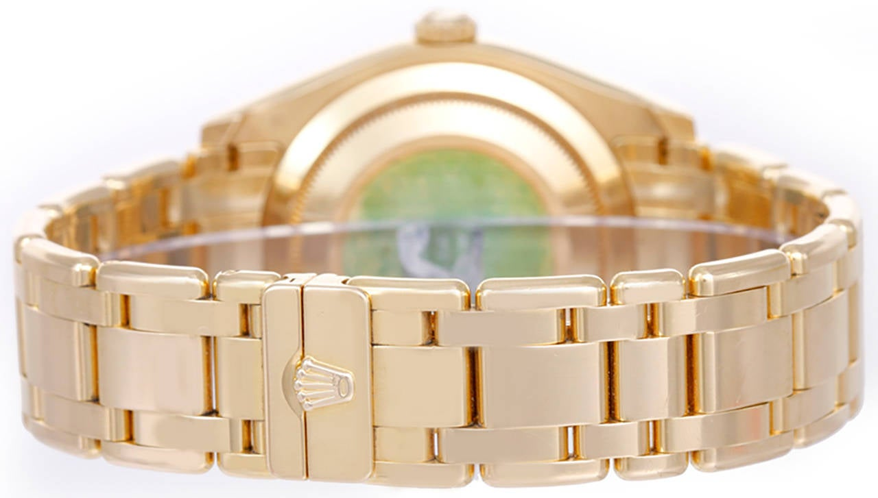 Automatic winding, 31 jewel, sapphire crystal. 18k yellow gold case with 40-diamond factory bezel (39mm diameter). Rolex Meteorite diamond dial with factory diamond hour markers. 18k yellow gold Masterpiece bracelet. Pre-owned with Rolex box and
