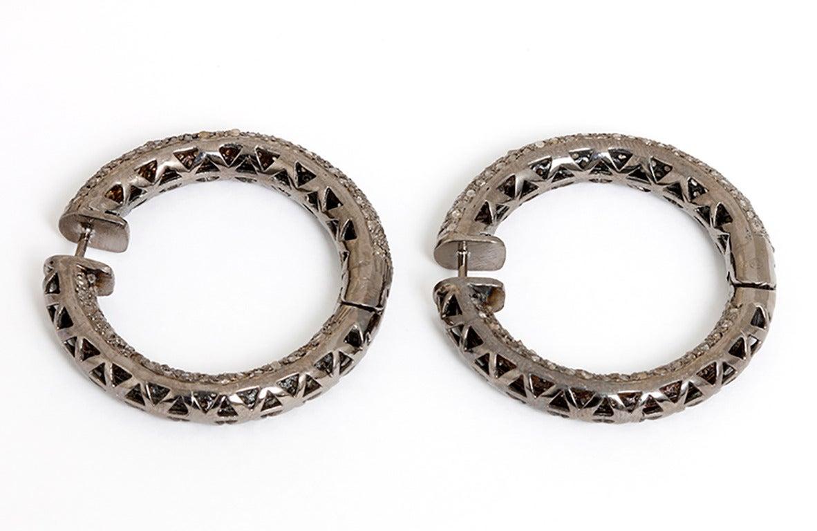 Beautiful Diamond Silver Inside-Out Hoop Earrings 2