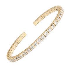 Beautiful Sparkling Diamond Gold Cuff Bracelet