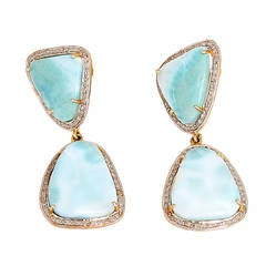 Beautiful Larimar Diamond Silver Gold Dangle Earrings