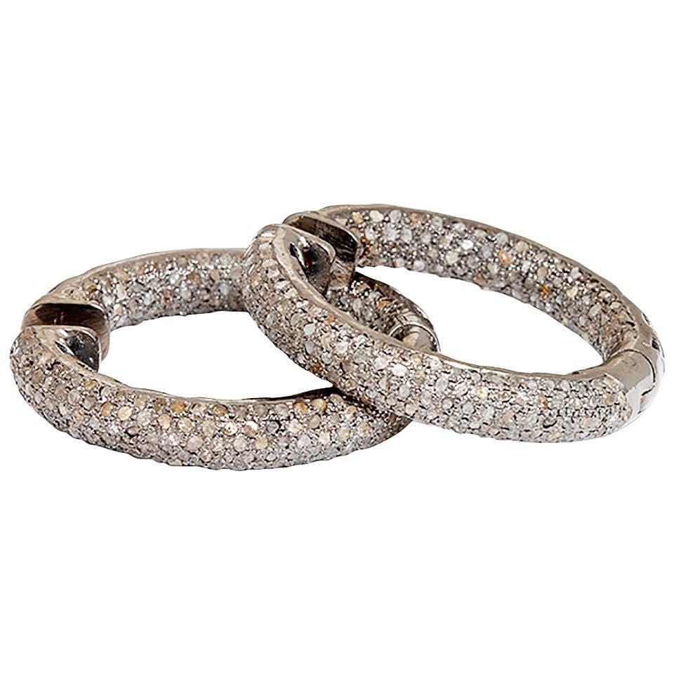 Beautiful Diamond Silver Inside-Out Hoop Earrings For Sale