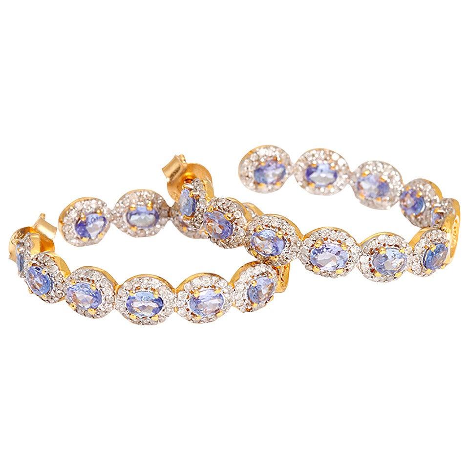 Beautiful Tanzanite Diamond Gold Hoop Earrings