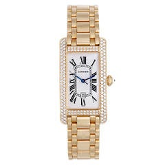 Cartier Yellow Gold and Diamond Tank Americaine Midsize Wristwatch