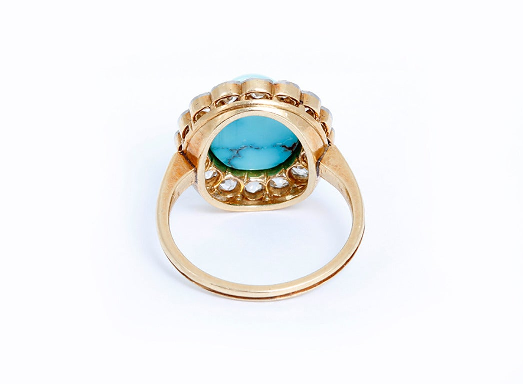 antique turquoise gold ring circa 1900 at 1stdibs