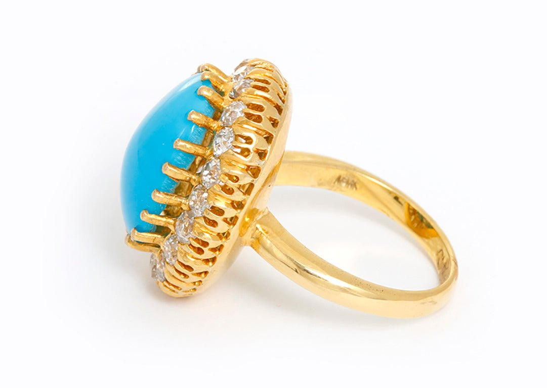 Beautiful Turquoise Diamond Gold Ring at 1stdibs