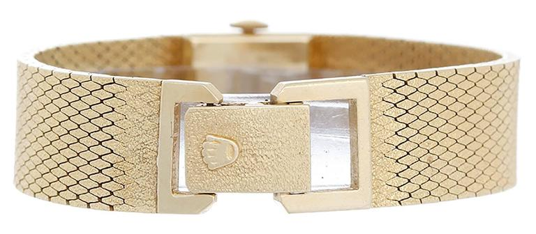 Rolex Lady's Yellow Gold Square Mesh Bracelet Wristwatch  In Good Condition For Sale In Dallas, TX