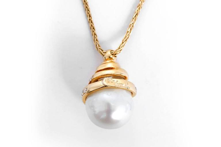 Yvel Yellow Gold, Diamond, and Freshwater Pearl Pendant Necklace 2