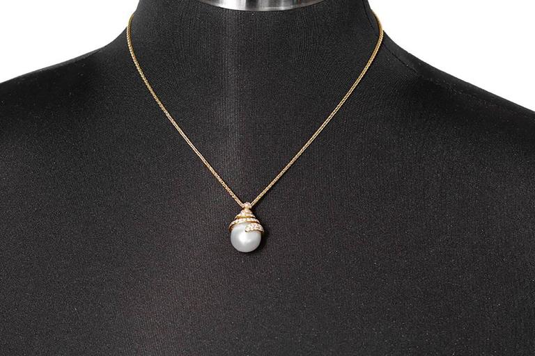 Yvel Yellow Gold, Diamond, and Freshwater Pearl Pendant Necklace 3