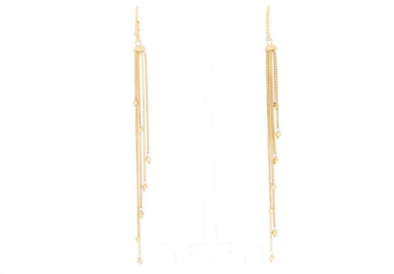 These amazing 22k yellow gold earrings feature a matte and shine finish. Drop measures apx. 4-1/4 inch in length at the longest. Total weight is 12.2 grams. These earrings are perfect for evening and occasions!