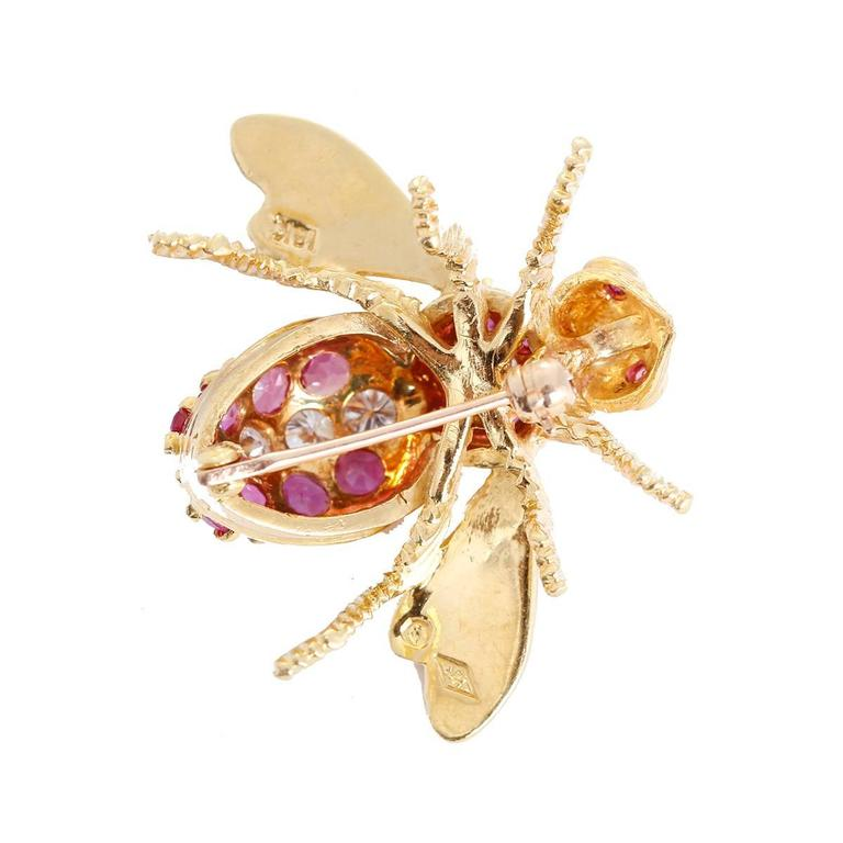 Rosenthal Ruby Diamond Gold Large Bee Pin 2
