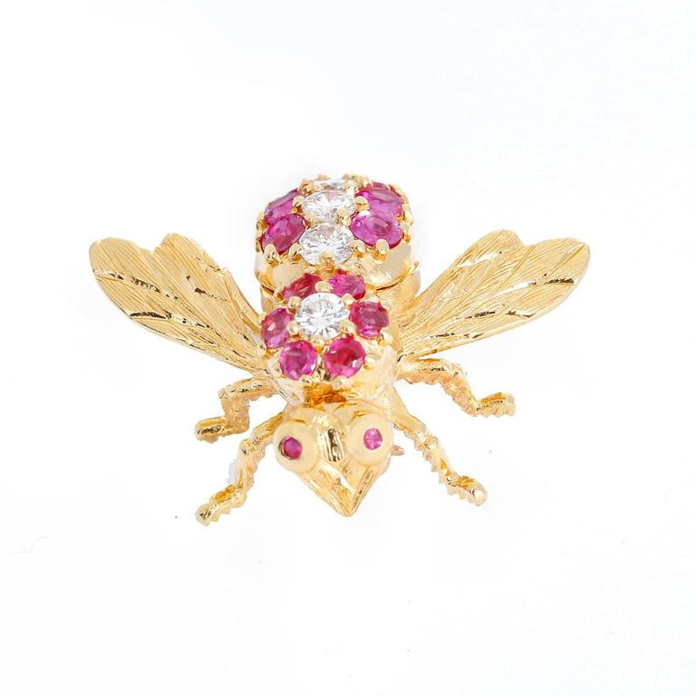 Rosenthal Ruby Diamond Gold Large Bee Pin 3