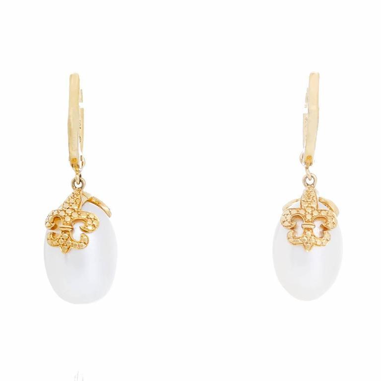 Rhonda Faber Green Baroque Freshwater Cultured Pearl and Diamond Earrings 3