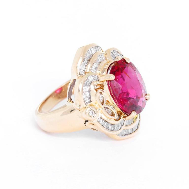Rubellite Tourmaline Diamond Ring In Excellent Condition For Sale In Dallas, TX