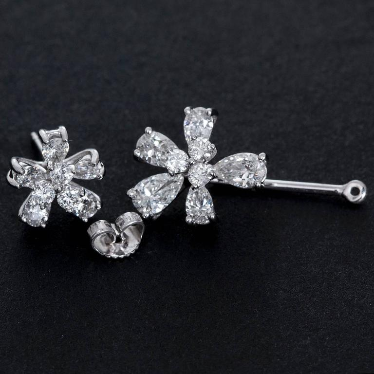 Stunning White Gold and Diamond Flower Stud Earrings with Convertible Earrings 3