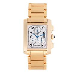 Cartier Yellow Gold Tank Francaise Chronograph Quartz Wristwatch