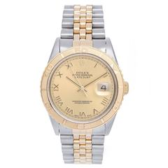 Rolex 2-Tone Turnograph Men's Steel & Gold Watch Champagne Dial 16263
