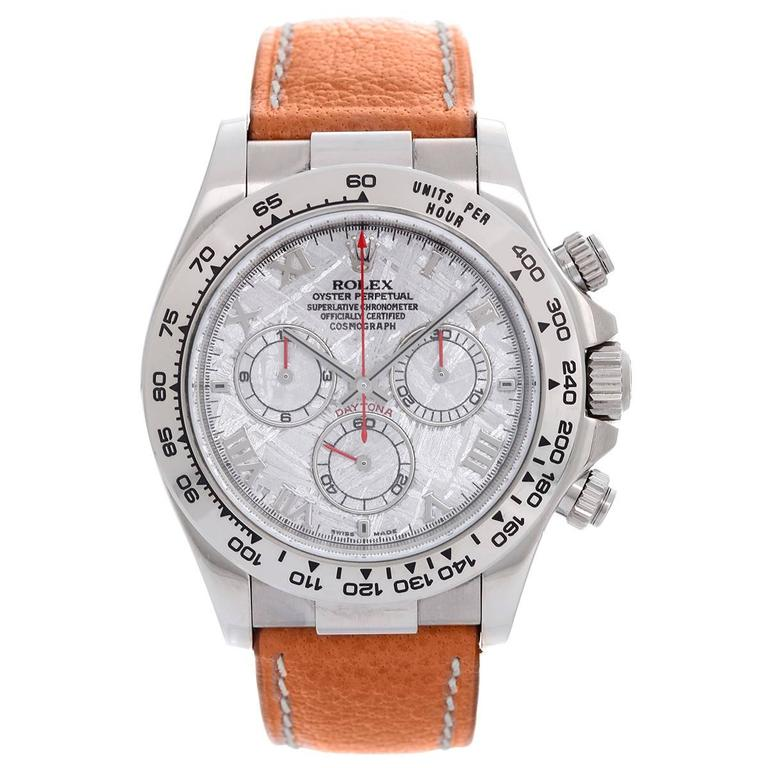 Rolex White Gold Cosmograph Meteorite Dial Daytona Wristwatch Ref 116519 For Sale