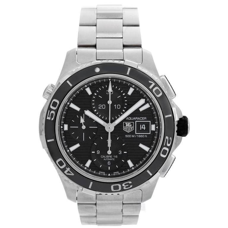 Tag heuer aquaracer automatic chronograph men 39 s diver 39 s watch cak2110 ba0833 at 1stdibs for Tag heuer divers watch