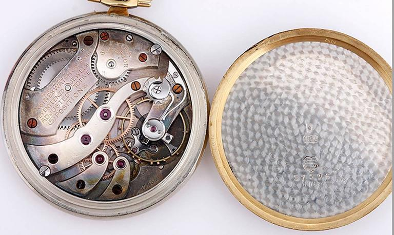 Longines for Spaulding & Gorham Two Tone Gold Pocket Watch  In Excellent Condition For Sale In Dallas, TX