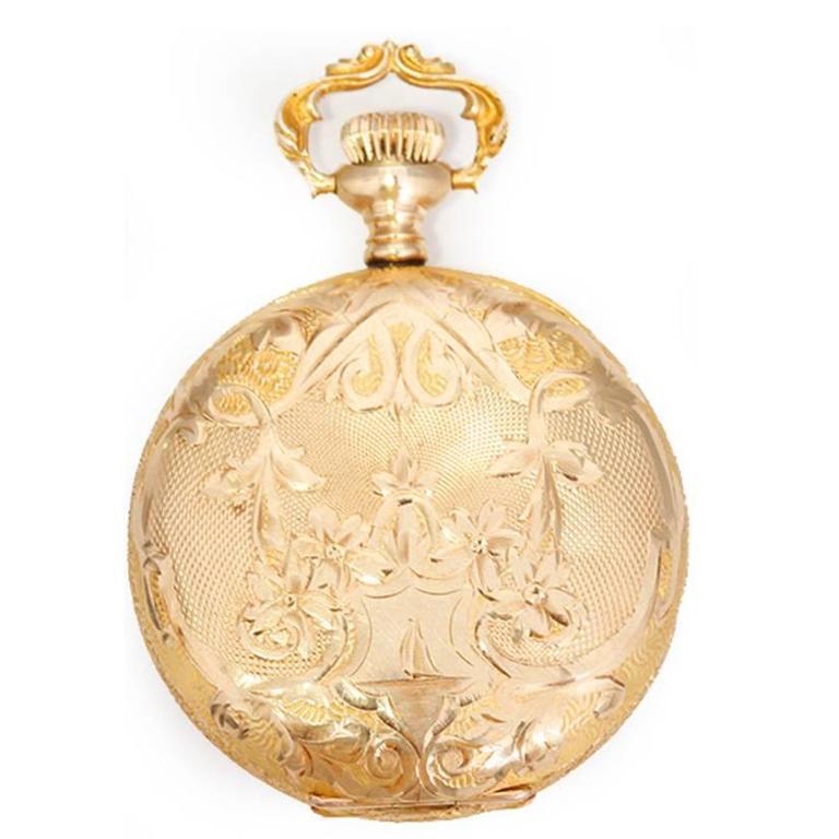 Elgin Ladies Yellow Gold Ornately Engraved Antique Manual Pocket