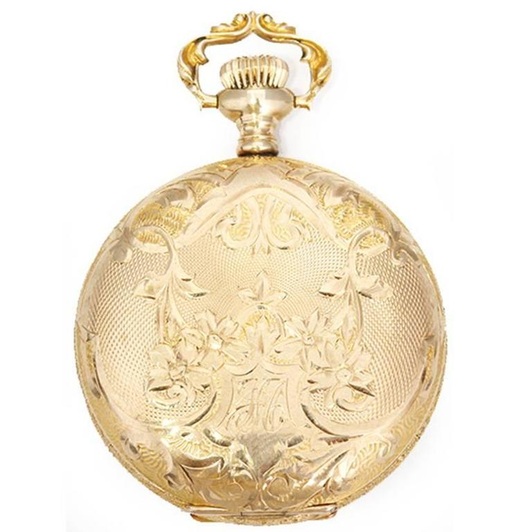 6f01d94a2 Elgin Ladies Yellow Gold Ornately Engraved Antique Manual Pocket Watch In  Excellent Condition For Sale In