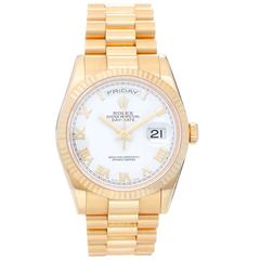 Rolex Yellow Gold White Roman President Day-Date Automatic Wristwatch