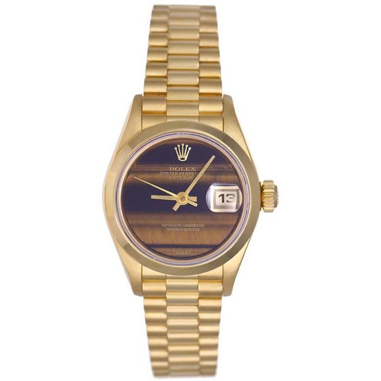 Rolex Ladies Yellow Gold Diamond President Automatic Wristwatch 1