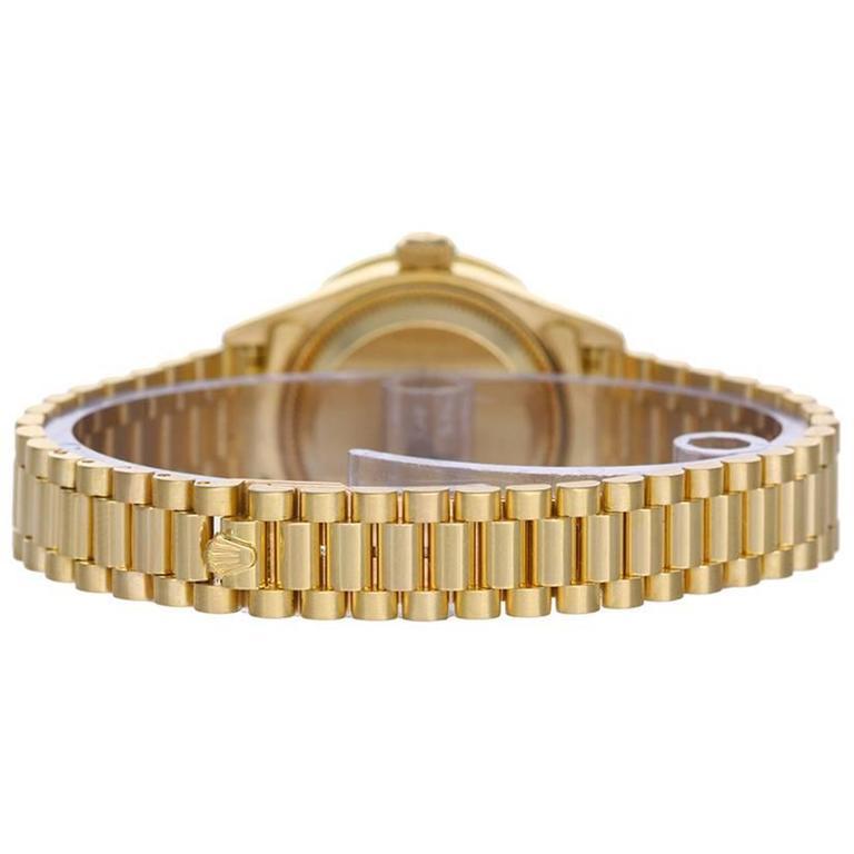 Rolex Ladies Yellow Gold Diamond President Automatic Wristwatch 2