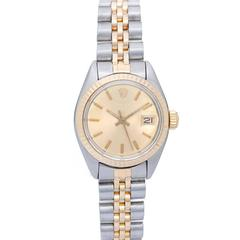 Rolex Ladies Yellow Gold Stainless Steel Date Automatic Wristwatch Ref 6917