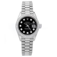 Rolex Ladies White Gold Diamond President Automatic Wristwatch Ref  69179
