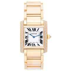 Cartier Yellow Gold Diamond Tank Francaise Midsize Quartz Wristwatch