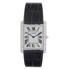 Cartier Diamond White Gold Tank Louis Manual Wind Wristwatch
