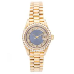 Rolex Ladies Yellow Gold President Diamond Bezel Automatic Wristwatch