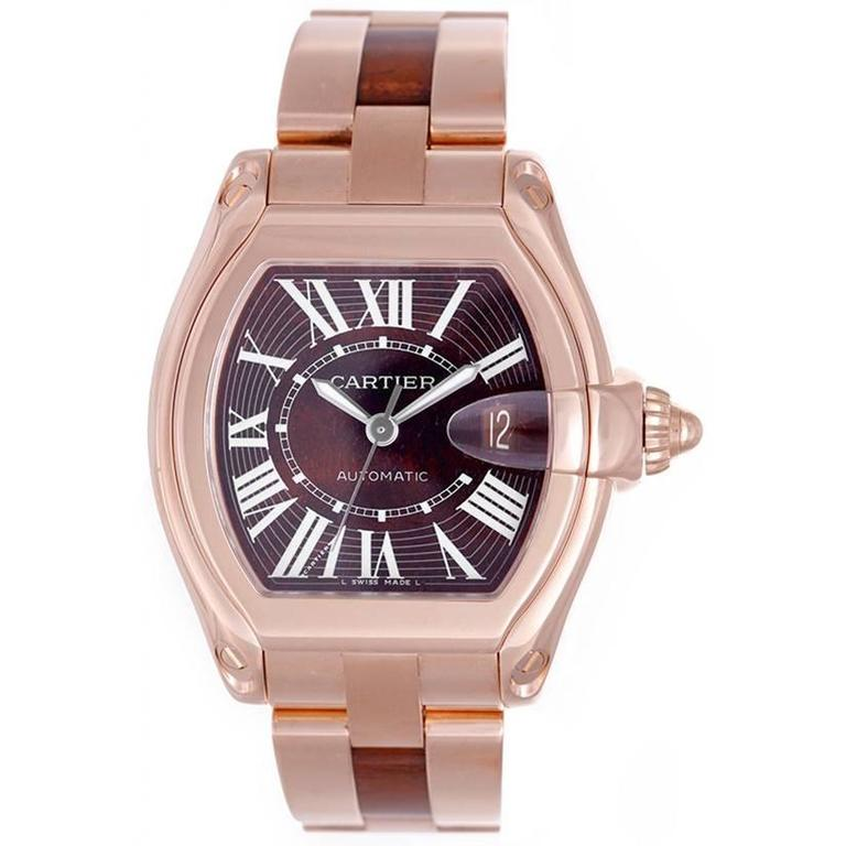 Cartier Rose Gold Roadster Walnut Burl Wood Dial Automatic Wristwatch For  Sale 047922ea9