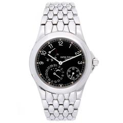 Patek Philippe Stainless Steel Power Reserve Moon Phase Automatic Wristwatch