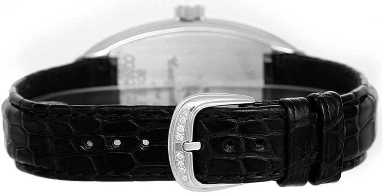 Franck Muller Conquistador Ladies 18k White Gold Diamond Watch 8002 SC D -  Automatic winding. 18k white gold pave diamond case and diamond bezel (34mm x 48mm). Black dial with Arabic numerals; date at 6 o'clock. Black croc strap band with 18k white