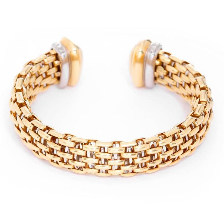 Diamond Yellow Gold Cuff Bracelet 2