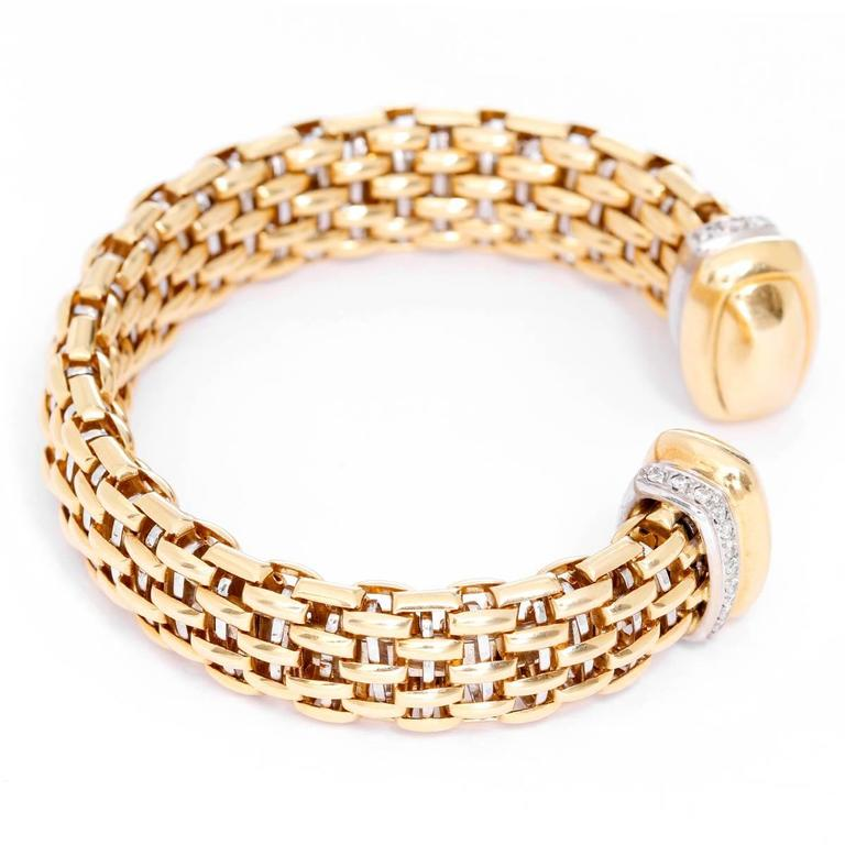 Diamond Yellow Gold Cuff Bracelet 3