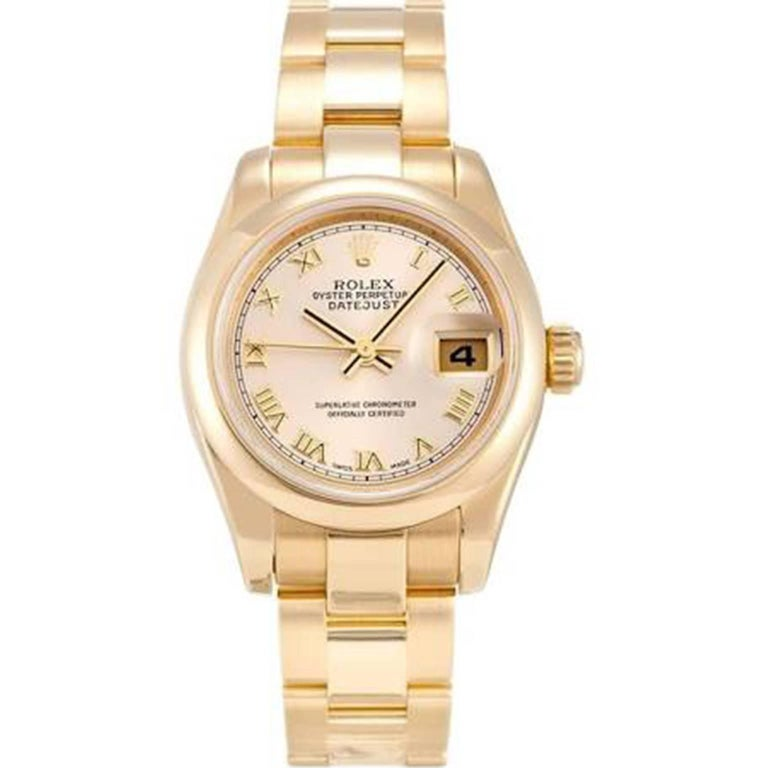 Rolex Datejust Yellow Gold Automatic Wristwatch Ref 179168 For Sale