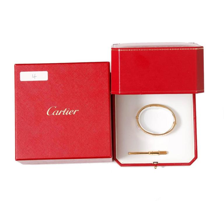 Women's Cartier Love Bracelet Yellow Gold with Screwdriver For Sale