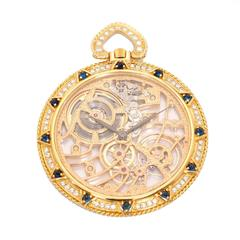 Audemars Piguet Yellow Gold Diamond Sapphire Manual winding Pocket Watch