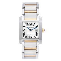 Cartier Yellow Gold Stainless Steel Tank Francaise Quartz Wristwatch